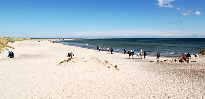 Im Vordergrund Dünen mit Strandhafer, im Hintergrund Sandstrand und schönes blaues Badewasser