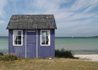One of the cosy beach huts by the lovely bathing beach of Ærøskøbing