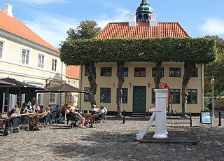 The square in Ærøskøbing with the two characteristic water pumps