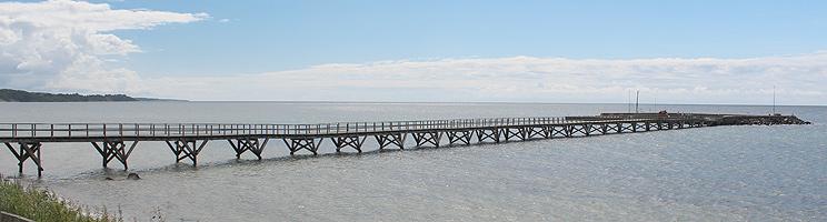 En 200 meter lang træbro forbinder øhavnen i Arnager med kysten