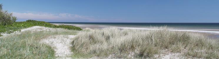 Der schöne, kinderfreundliche Sandstrand mit Dünen in Bisnap bei Hals