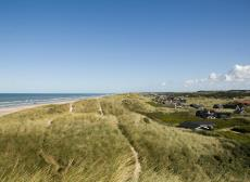 Dune landscape with holiday homes in Blokhus