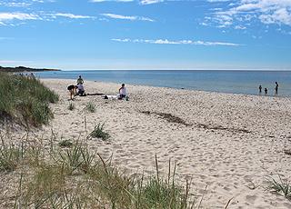 Dejlig, bred sandstrand med lavt og børnevenligt vand i Boderne