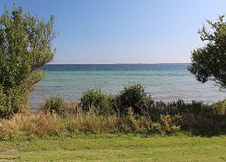 Udsigt over vandet fra de grønne områder bag stranden i Bøsøre