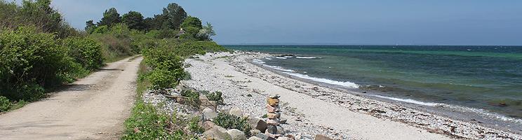 Fin, lille sandstrand i det rolige og naturskønne ferieområde Bovense