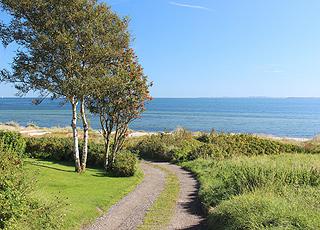 Udsigt over stranden og havet fra sommerhusområdet i Dyngby