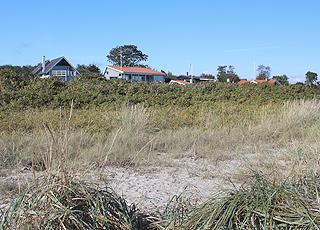 Sommerhusene i Dyngby er højt beliggende bag stranden