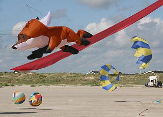 Det er meget populært at flyve med drager på den brede sandstrand i Rindby