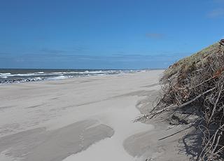 Fjaltring byder på en bred sandstrand og høje klitter