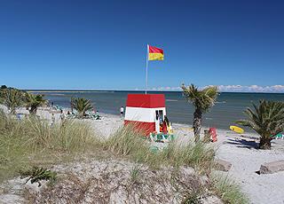 Rettungsschwimmerturm am einladenden Palmenstrand im nördlichen Teil von Frederikshavn