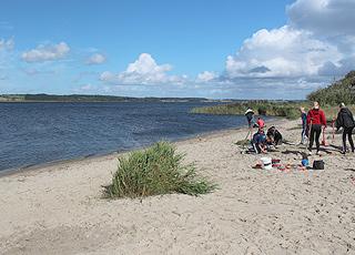 Børn graver i sandet på den lille sandstrand ved Hjarbæk