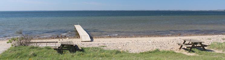 Badebro og bænke ved badestranden og det klare badevand i Hostrup