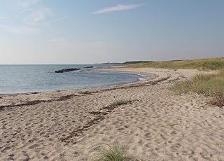 Fin sandstrand med små klitter i ferieområdet Hyldtofte