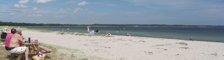 Sommerdag på badestranden Sandbjerg Vig i den nordlige del af Juelsminde