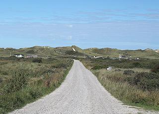 Das Ferienhausgebiet  hinter den hohe Dünen am Kærsgård Strand