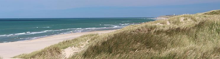 Der schöne, breite Sandstrand mit hohen Dünen bei Kærsgård