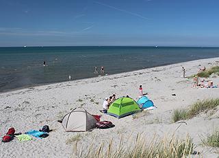 Ein Sommertag mit Badegästen am Strand von Vesterø Syd auf der Insel Læsø