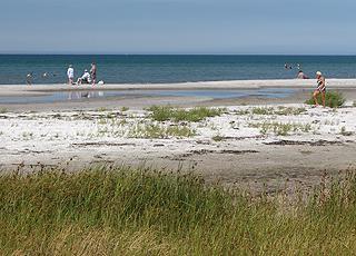Der Strand am südlichsten Ende des Ferienhausgebietes Vesterø Syd