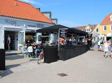 One of the restaurants on the cosy square in Løkken