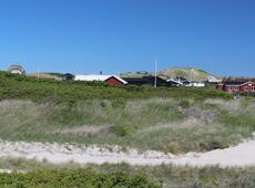 Holiday homes behind the high dunes and the beach of Løkken