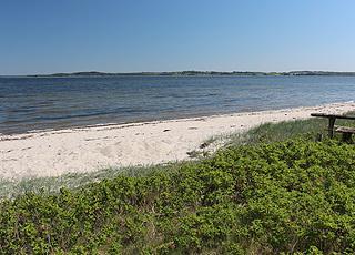 Dejlig sandstrand i sommerhusområdet Lundø