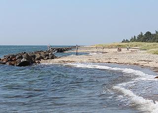 Badebro ved den fine sandstrand i ferieområdet Næsby Strand