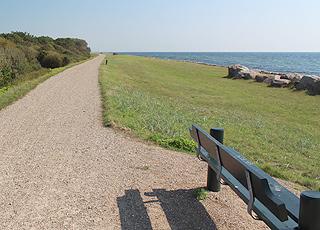 Udsigtsbænk ved Digestien bag stranden i sommerhusområdet Næsby Strand