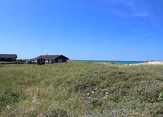 Einige der vielen gut gelegenen Ferienhäuser in der Dünenlandschaft hinter Nørlev Strand