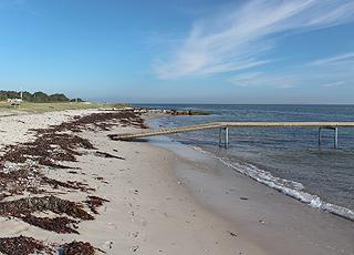 Ajstrup Strand med lavt vand og badebro ligger kun 2 km fra Norsminde