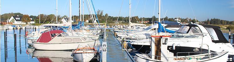 Sommerhusene i Norsminde ligger ned til vandet og lystbådehavnen