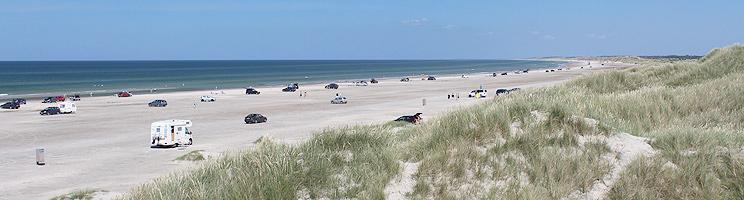 Den brede sandstrand med høje klitter i Rødhus