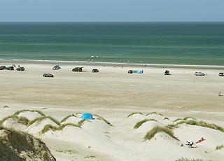 Ein Sommertag am breiten Sandstrand mit Dünen in Saltum