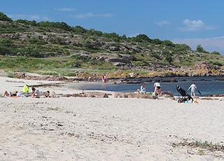 Sandstranden i Sandvig er omgivet af klippekyster på begge sider