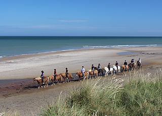 Ausritt auf Islandpferden am Strand von Skallerup