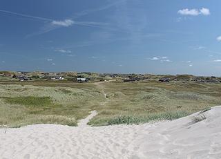 Sommerhusene ligger i et kuperet klitområde, lige bag stranden i Skodbjerge