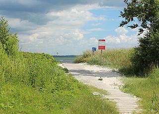 Pfad zum Badestrand im Urlaubsgebiet Spodsbjerg auf Langeland