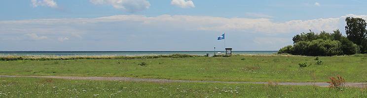 Grüngfläche zwischen den Ferienhäusern und dem Strand mit der blauen Flagge in Spodsbjerg