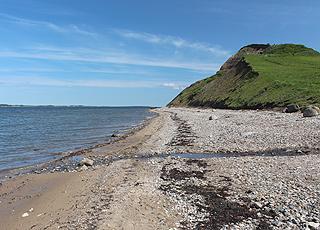 Udsigt til den 60 meter høje molerklint, Hanklit, fra stranden i Sundby, Mors