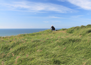 Die Aussicht wird von der Bank auf der Spitze des Steilhanges hinter Svinkløv Strand genossen