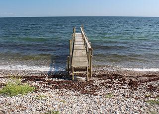 Badesteg am steinernen Strand im Urlaubsgebiet Tårup