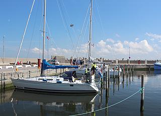 Thyborøns hyggelige lystbådehavn, som vender ind mod Nissum Fjord