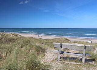 Bænk med udsigt over den dejlige sandstrand i Tornby