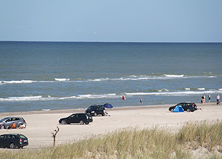 Badegäste in den Wellen der Nordsee am Strand von Tversted