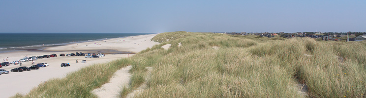 Udsigt over den brede sandstrand i Vejers fra de høje klitter