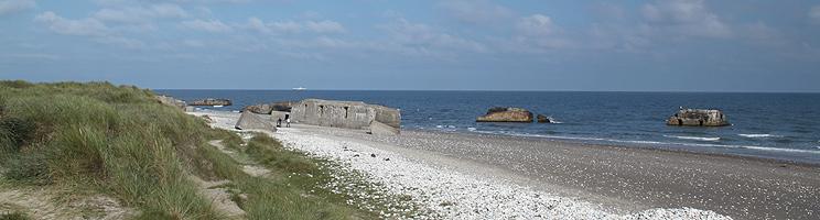 Strand med mange bunkere i Vigsø