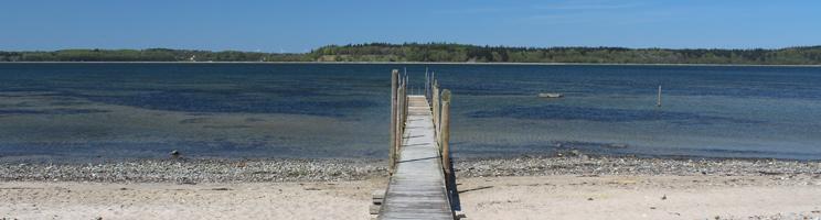 Dejlig strand med badebro i Vile på Salling og med udsigt til Mors