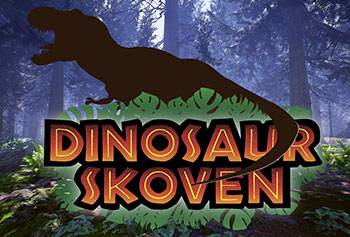 Dinosaurs, fossils and skeletons in the forest Dinosaurskoven