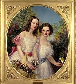 Painting showing two girls