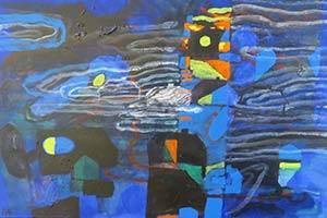 Abstract schilderij in blauwe kleuren