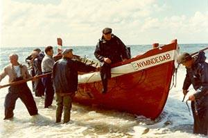 Lifeboat being pulled ashore